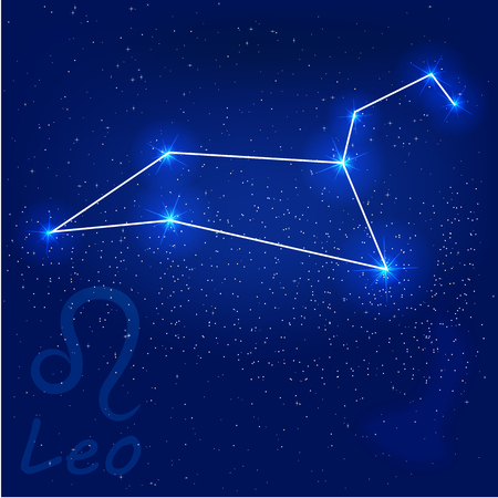 vector illustration of constellation?leo on a blue background