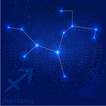 vector illustration of constellation?saggitarius on a blue background
