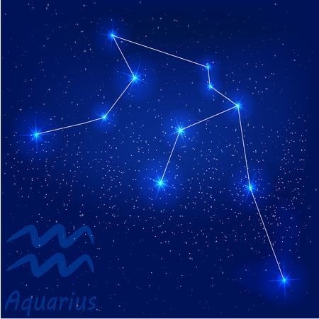 vector illustration of constellation?aquarius on a blue background
