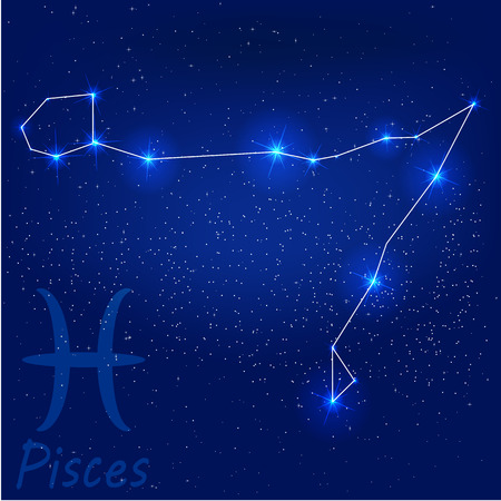 vector illustration of constellation?pisces on a blue background