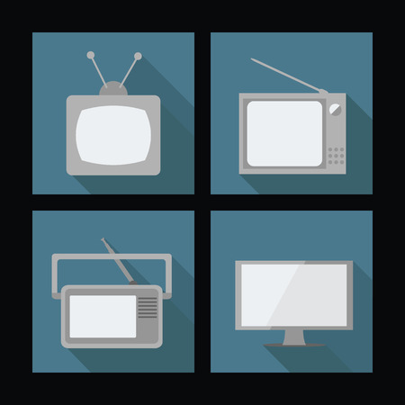 vector illustration of four old TVs