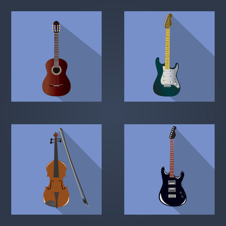 vector illustration of three guitars and violins
