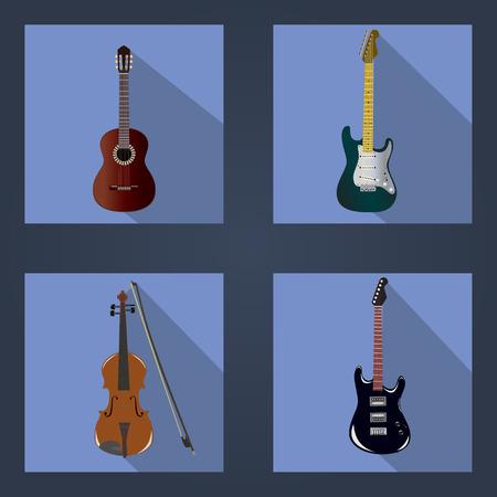 violins: vector illustration of three guitars and violins