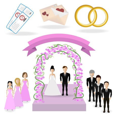 getting married: vector illustration of two lovers who are getting married