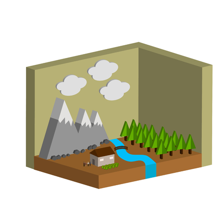vector illustration of a landscape on which the house, mountains, trees and clouds