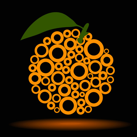 vector illustration of orange on black background made ​​of circles