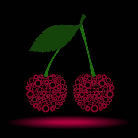 vector illustration of cherry on black background made of circles 向量圖像