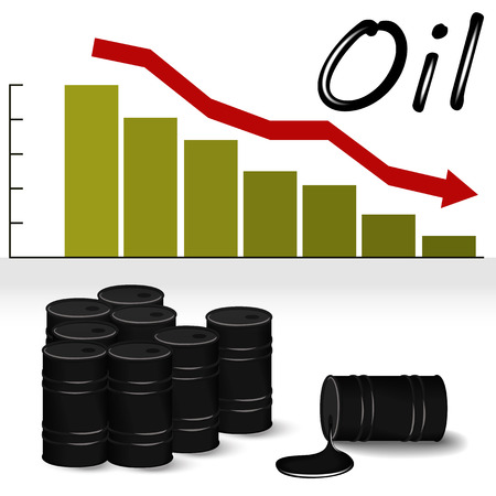 vector illustration of barrels of oil and the price chart of oil, which decreases