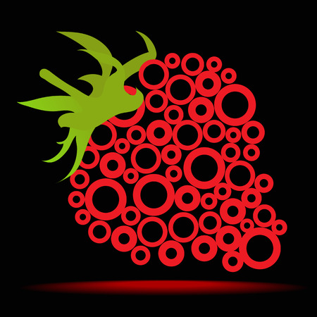 vector illustration of strawberries on black background made ​​of circles
