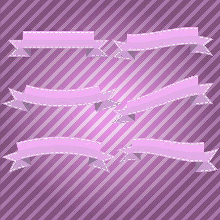 Vector illustration of beautiful ribbons on a pink background