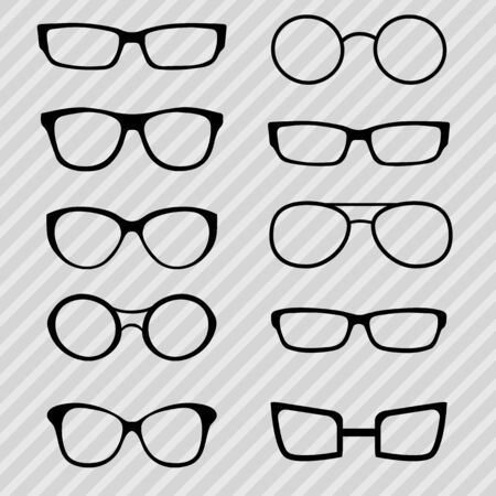 Vector illustration of ten different glasses for vision