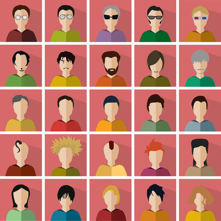 vector illustration of twenty-five different icons in the form of men 向量圖像