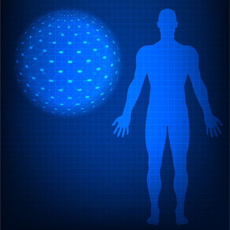 vector illustrationScan Human blue color with sphere