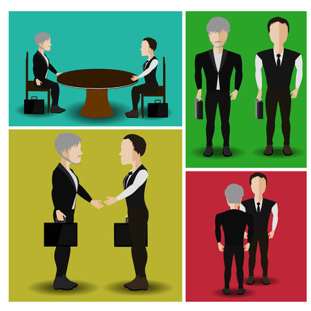 round table: vector illustration of businessmen who are negotiating the round table