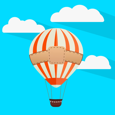vector illustration of a beautiful balloon against the sky with clouds Ilustração