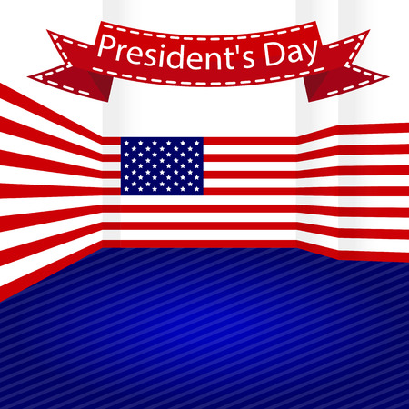 vector illustrationroom decorated US flag , for the president day 向量圖像