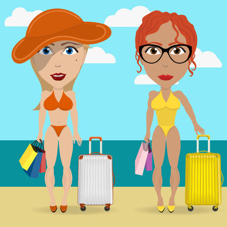 two girls go on a trip to the beach with luggage