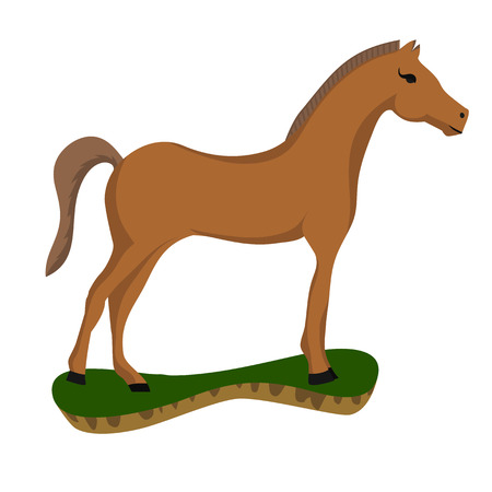 brown horse: brown horse on a small island . Illustration