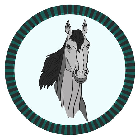 icon head gray horse