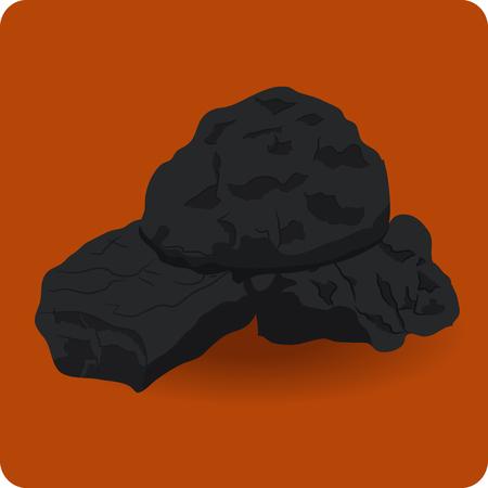coal mining: icon black coal on an orange background Illustration