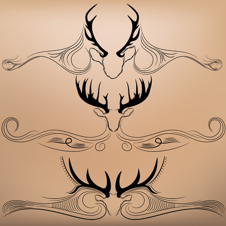silhouettes of deer antlers with arrows