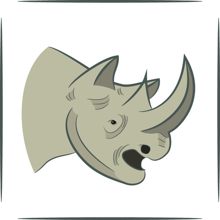 vector illustration of a rhinoceros head on a white background