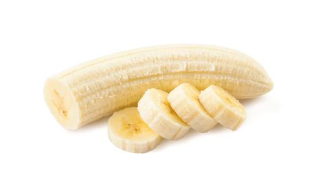 Banana. Freshly sliced bananas on a white background.