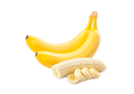 banana: Banana. Ripe bananas isolated on a white background. Freshly sliced bananas.