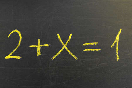 School blackboard with a math formula. Handwriting simple mathematical equations. Education and learning