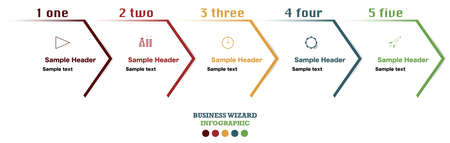 Infographic with five wizard steps of business development. Flow chart for marketing presentation of project details