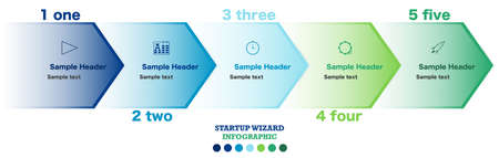 Infographic flow chart with five steps of a startup project progress. Marketing and SEO drawing and diagrams