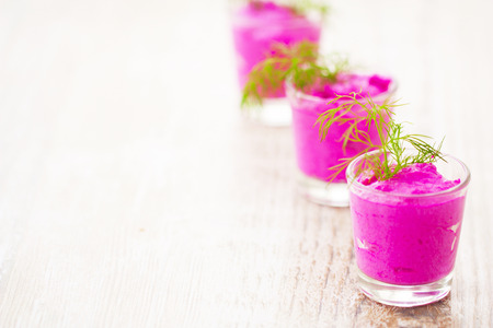 cold beet soup portioned cups photo