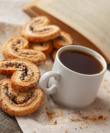 poppy seeds: student snack, coffee and biscuits with poppy seeds and sugar