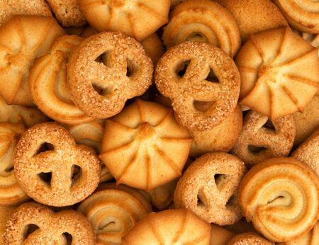 food background of traditional Christmas cookies of various shapes Zdjęcie Seryjne
