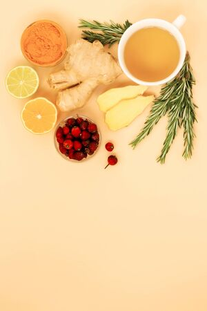 Vitamin tea with ginger, lemon, dogrose, and rosemary. Calm, natural colors for relaxation reduce stress, set up for self-care and recovery. Adaptogens improve health and boost the immune system Zdjęcie Seryjne