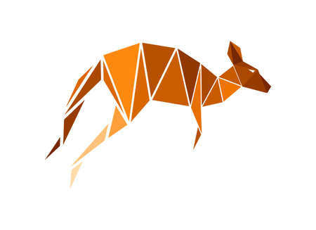Vector kangoroo in low poly style  イラスト・ベクター素材