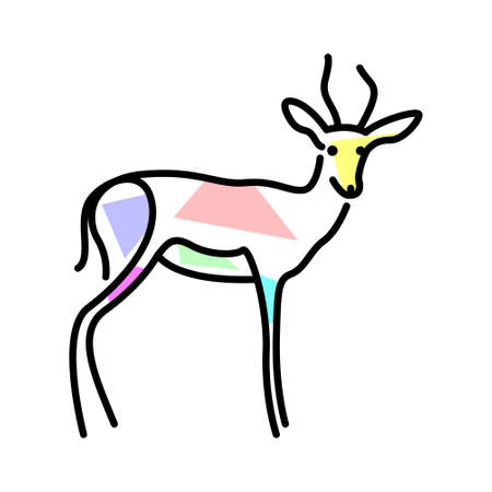 Vector antelope in filling shapes style