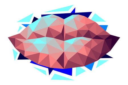 Vector lips in low poly style