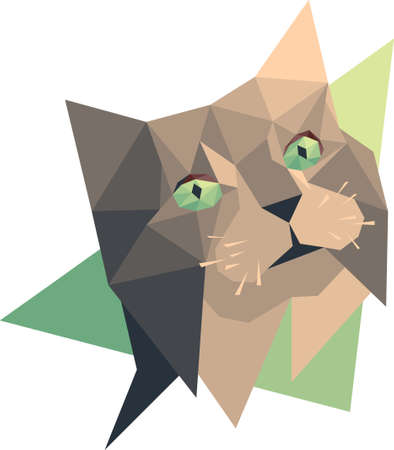 Vector cat low poly style