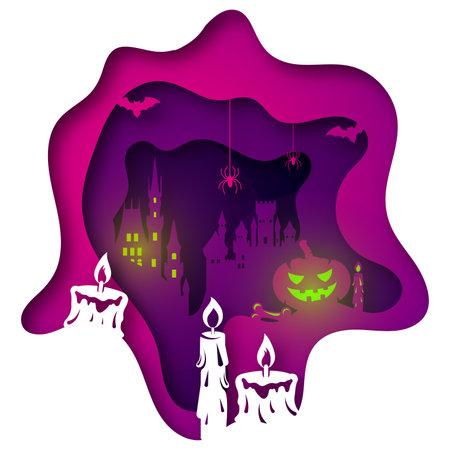 Vector halloween in paper art style Иллюстрация