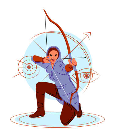 Vector archer in shadow of sharp lines style