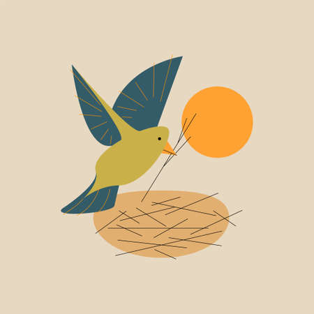 Vector bird with branch in outline style. Digital art