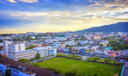 vue ville: Vue sur la ville, Chiang Mai vue de la ville, en Tha�lande, au nord de la Tha�lande