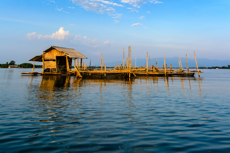 Floating house on the sea with blue sky