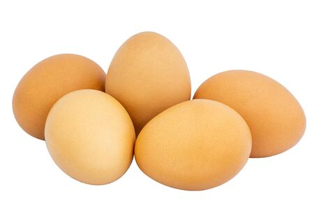 Beautiful and clean chicken eggs isolated on white background and clipping path. Standard-Bild