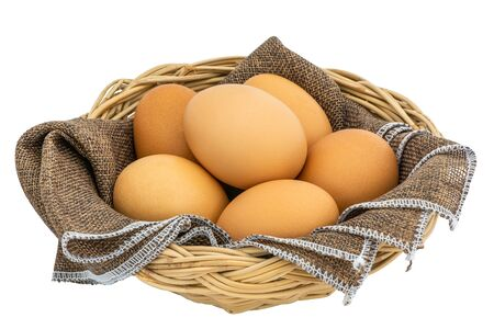 Beautiful and clean chicken eggs isolated on white background and clipping path.