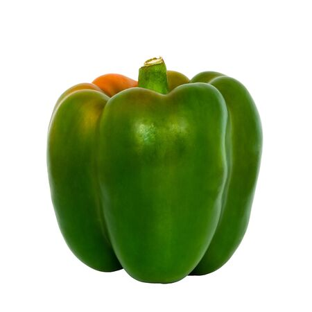 Green peppers isolated (Sweet peeper or bell pepper or Capcicum.) on white background and clipping path.