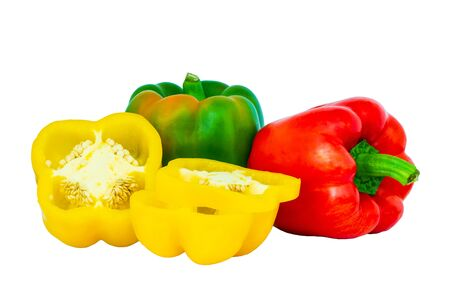 Bell pepper (Sweet pepper or Capcicum.)  Red, yellow and green peppers isolated with white background and clipping path.