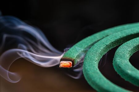 Burning green spiral mosquito repellent coil and red fire  with white smoke on dark background.