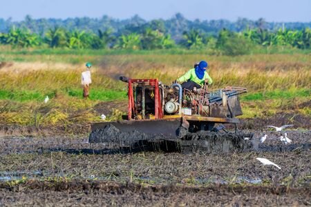 Nakhon Nayok-Thailand, December 23-2018 : Thai farmer driving tractor in the fields  during preparing land with seedbed cultivator in the countryside of Thailand.